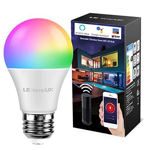 LE Lampadina LED Intelligente E27 9W Alexa, Smart Lampadine LED RGBW WiFi, Luce Dimmerabile RGB + Bianco Caldo 2700K, Funziona con Alexa e Google Assistant, Controllo da App Smartphone iOS&Android