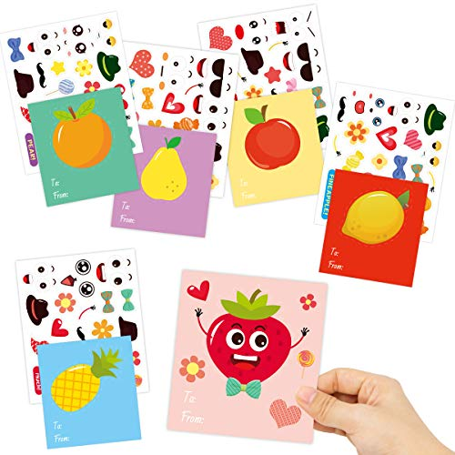 ceiba tree Make a Face Fruit Valentines Day Stickers and Cards 36 Pack Craft Set for Kids Valentine Classroom Exchange