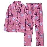 Otoño patrón de Hoja de Arce Pijamas de algodón Puro Completo de Manga Larga Ropa de Dormir para Mujer Ropa de Dormir con Cuello Vuelto Ropa para el hogar 2 unids/Set L