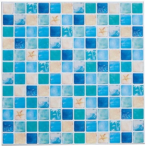 Profesticker 6 Vinilos Azulejo Adhesivo 12x12Pulgadas Cenefa Adhesiva 3D Auto-Adhesivo Pegatina Pared Baldosa Revestimiento Border Decorativo Impermeable Cocina Baño (Mosaico Encanto del Océano)