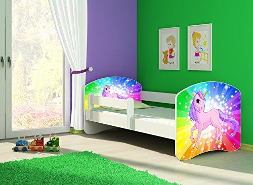 Clamaro 'Fantasia Weiß' 160 x 80 Kinderbett Set inkl. Matratze und Lattenrost, mit verstellbarem...