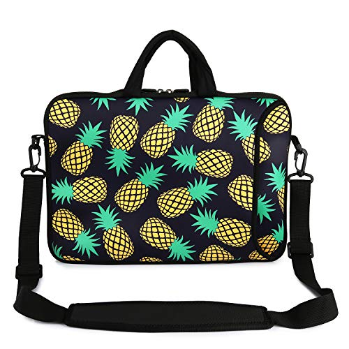 "Violet Mist 13"" 15"" 15.6"" Neoprene Laptop Sleeve Bag Waterproof Sleeve Case Adjustable Shoulder Strap External Pocket(14' 15'-15.6',Black Pineapple)"