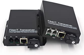 Primeda-tronic 2 Ports RJ11 Telephone and 10/100Mbps Ethernet Over Fiber Converters Extenders - PCM Voice Over Fiber Optic,Universal Single Mode 20Km and Multimode 500m