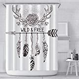 Duschvorhang Traumfänger 100prozent Polyester Wasserdicht Waschbar Gardinen Badvorhang Shower Anti-Schimmel mit Haken für Badewanne & Bad 180x200cm
