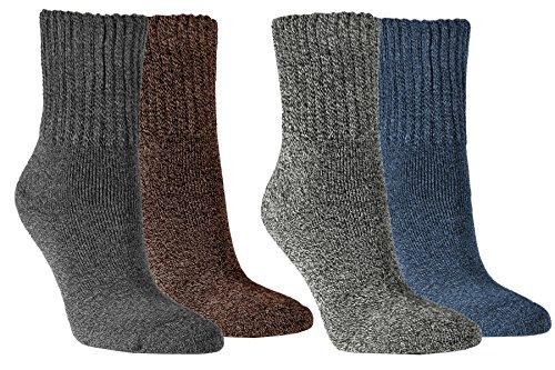 Vitasox Damen Socken super soft Baumwolle Damensocken Arbeitssocken Baumwollsocken ohne Gummi 4er Pack, 1paar Anthrazit & 1paar Grau & 1paar Jeans & 1paar Braun, 35/38