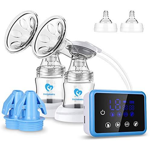 Tire lait Electrique, Bellababy Tire-lait Double, Fonction massage et sucer - 9 niveaux, Pompes d'allaitement Portable et Rapide (Electrique)