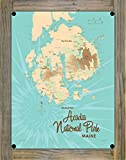 """Northwest Art Mall Acadia National Park Map Metal Print on Reclaimed Barn Wood by Lakebound 9"""" x 12"""""""