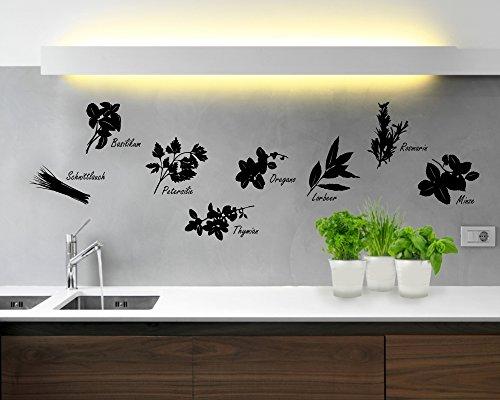 Wandtattoo Küche Kräuter in verschiedenen Größen und Farben (50 x 35 cm, schwarz)
