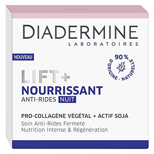 Diadermine - Lift+ Nourrissant - Crème de Nuit Visage Anti-Rides Ultra Fermeté - Soin Fermeté - Pro-Collagène végétal et actif soja - 90% d'ingrédients d'origine naturelle - Pot de 50 ml