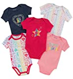 Juicy Couture Baby Girls 5 Pieces Pack Bodysuits, Navy/Pink/Print, 3-6 Months