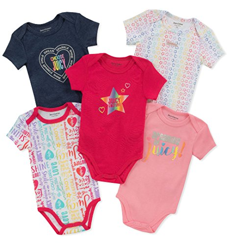 Juicy Couture Baby Girls 5 Pieces Pack Bodysuits, Navy/Pink/Print, 3-6...