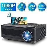 Proiettore WiFi FANGOR Videoproiettore Full HD Proiettore 1080P Nativo 6500 lumen Correzione tropezoidale 4K Proiettore per home theater , compatibile con TV Stick, HDMI, VGA, USB, Smartphone