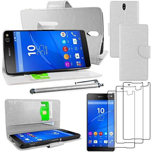 ebestStar - kompatibel mit Sony Xperia C5 Ultra Hülle C5 Ultra Dual E5533 Wallet Handyhülle PU, Kartenfächern Standfunktion +Stift +3 Schutzfolies, Weiss [C5 Ultra/Dual E5533:164.2x79.6x8.2mm 6.0