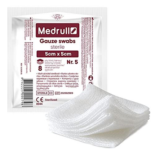 Medrull - Compresas estériles de gasa 100 unidades (20 x 5 unidades), 8 capas, 5 x 5 cm - Material para apósitos, compresas para heridas, vendas de gasa, apósitos de gasa para heridas