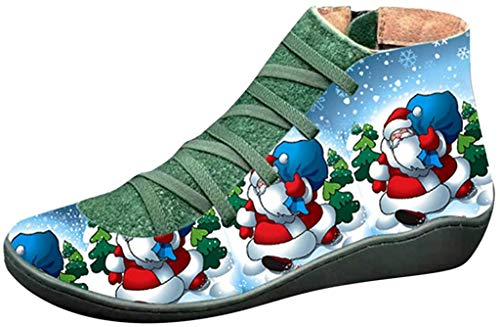 Fenverk Damen Stiefel Flandell Langschaftstiefel Schuhe Stiefel - Reitstiefel - Kavalier - Keilabsatz Warme Gefüttert Winterstiefel Winterschuhe Trekking Weihnachten Wanderschuhe(B Grün,39.5 EU)