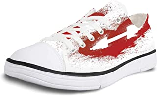 K0k2t0 Canvas Sneaker Low Top Shoes,Fitness Red Heart Icon with Stains Splashes and Dumbbell Grunge Artistic Love Design