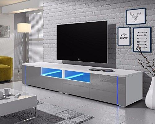 Selsey Meuble TV, Blanc Mat/Gris Brillant, 200 cm