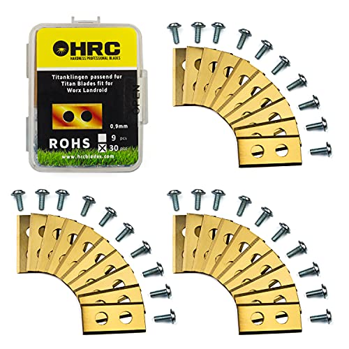 HRC Cuchillas de Repuesto de Titanio, compatibles con el Robot cortacésped Worx Landroid, Cuchillas duraderas de Acero Inoxidable, Tornillos incluidos, 30 Piezas