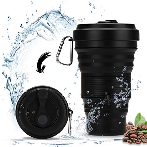 OSVAW Lebensmittelqualität Silikon Faltbare Reisebecher BPA Frei Tragbare Camping Becher für Reisebüro Camping Wandern 19 oz