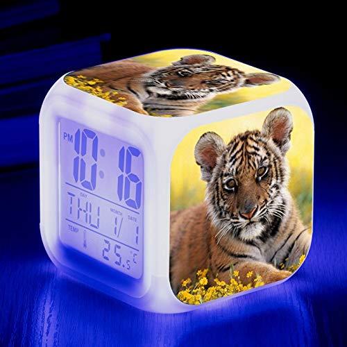 Totots Animales: South China Tigre Electronic Alarm Reloj de alarma, Color Color Creativo Cambio de color Cuadrado Reloj de alarma, Tigre Mini Adornos de Desktop, Luz de Anime Night, Reloj despertador