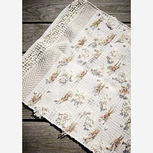 Homes on Trend Tappeto rettangolare panna beige tessuto cotone naturale tappeto soggiorno cucina corridoio bagno frangia trama nappa intrecciata stile boho rustico pavimento casa tappeto W100 cm