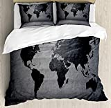 ABAKUHAUS Gris Oscuro Funda Nórdica, Mapa del Mundo en Wall, Decorativo 3 Piezas con 2 Fundas de Almohada, 230 x 220 cm - 70 x 50 cm, Gris Negro