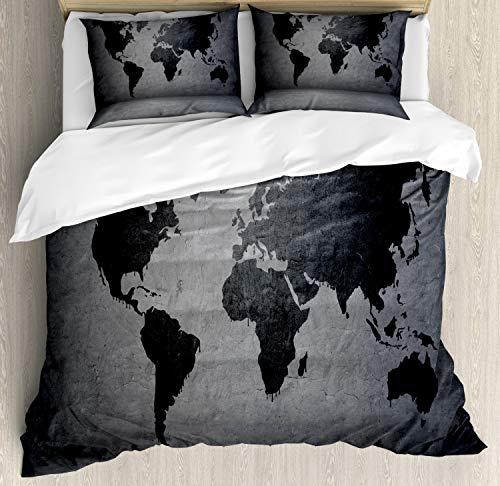 ABAKUHAUS Dunkelgrau Funda Nórdica, Mapa del Mundo en Wall, Estampado Lavable, 3 Piezas con 2 Fundas de Almohada, 230 cm x 220 cm, Gris Negro