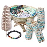 3 White Sage Smudge Gift Kit - Abalone Shell, Feather, Stand, Instructions & More - Smudging, Cleansing, Healing & Stress Relief…
