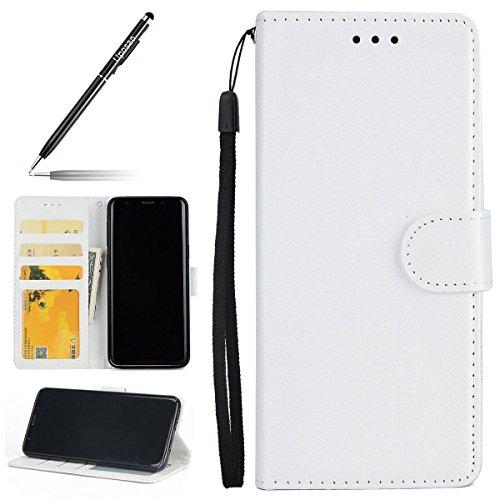 Uposao Kompatibel mit Handyhülle Galaxy S9 Handy Schutzhülle Brieftasche Handytasche Lederhülle Ledertasche Retro Herren Flip Case Klapphülle Bookstyle Tasche mit Kartenfächer,Weiß