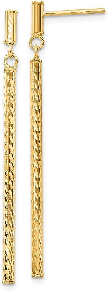 14k Yellow Gold Bar Drop Dangle Chandelier Post Stud Earrings Fine Jewelry For Women Gifts For Her