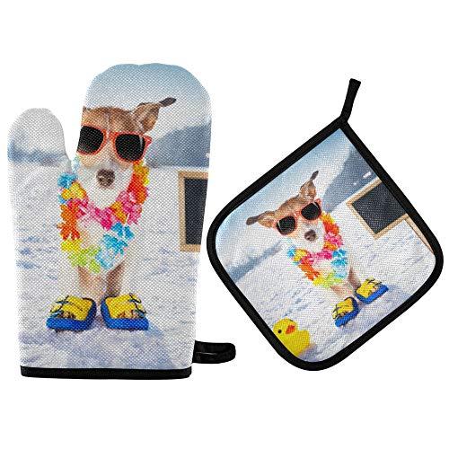 TropicalLife RELEESSS - Juego de guantes y soporte para ollas para horno, resistentes al calor, para el hogar, cocina, cocina, hornear, etc