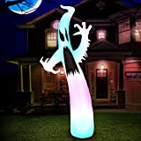 Holidayana 9 ft Tall Inflatable Halloween Color Changing Ghost Yard Inflatable - Outdoor Yard Inflatable Decoration with Multi-Colored LED Lights, Built-in Fan, and Tie-Downs