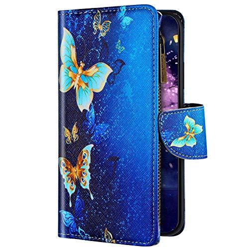 Uposao Kompatibel mit Samsung Galaxy A20e Hülle Flip Schutzhülle Leder Handyhülle Geldbörse mit Reißverschluss 3D Bunt Muster Klapphülle Ledertasche Magnet Kartenfächer,Schmetterling Gold
