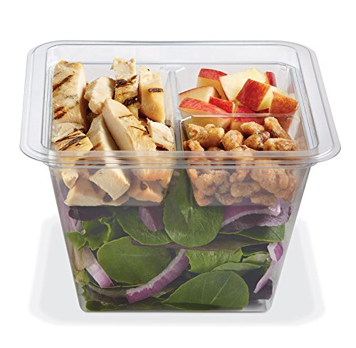 Review PLACON Fresh'n Clear GOCUBES Set: 36 oz Clear Plastic Container with 3-Compartment Clear In...