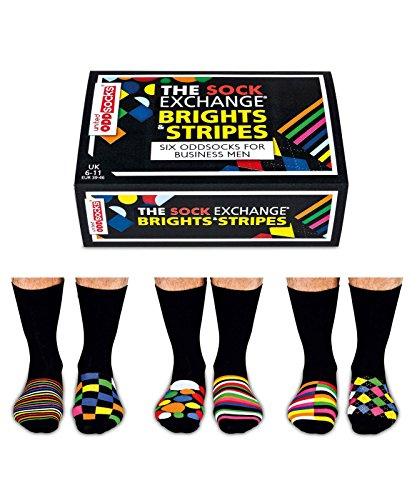 The Sock Exchange - Lot de chaussettes non assorties rayures/couleurs vives