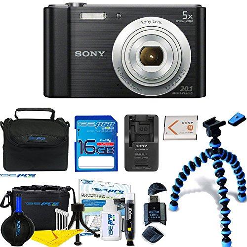 Sony Cyber-Shot DSC-W800 Digital Camera (Black) + Deal-Expo Essential Accessories Bundle