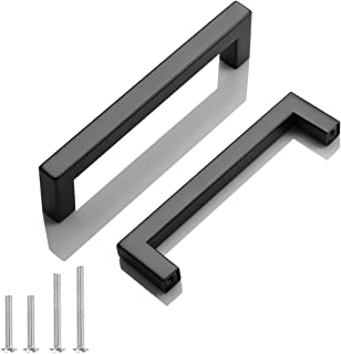 5 Pack Probrico Black Stainless Steel Square Corner Bar Cabinet Door Handles Drawer Pulls Knobs 1/2 in Width Hole Centers ...