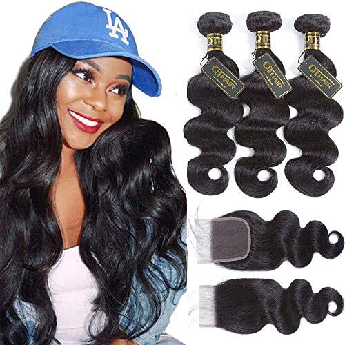 QTHAIR 12A Brazilian Body Wave with Closure(18' 20' 22' with 16') 100% Unprocessed Brazilian Virgin Body Wave Hair Weave with 4x4 Swiss Lace Closure