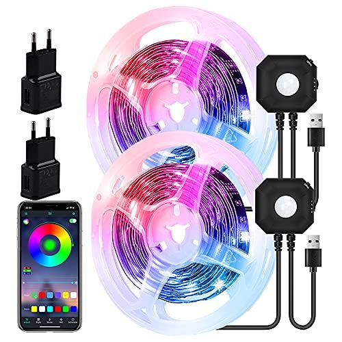 LED Strip 3M,LED Bettlicht mit Bewegungssensor,RGB LED Streifen,Bluetooth APP Steuerung Bewegung Aktiviert Licht Leiste,Nachtlicht mit Bewegungsmelder,Nachtlicht Baby,Schlafzimmer,Babybett(2 Pcs)