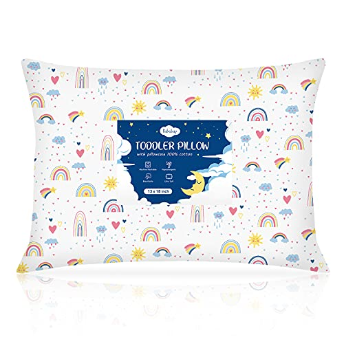 Toddler Pillow,13X18 Soft Baby Pillows for Sleeping, Machine Washable Kids Pillow with Cotton Pillowcase, Perfect for Travel, Toddlers Cot