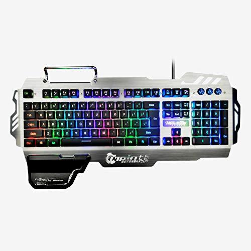 ZeeDix PK-900 Colorful Backlight Gaming Keyboard 104 Keys Waterproof ABS Metal Keyboard for Gamer