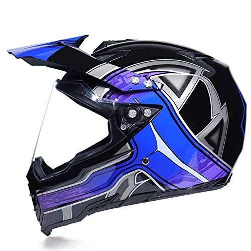 Motocross Rallye Lens Anti-UV veiligheidshelm voor motorfiets snelweg integraalhelm M Blue control