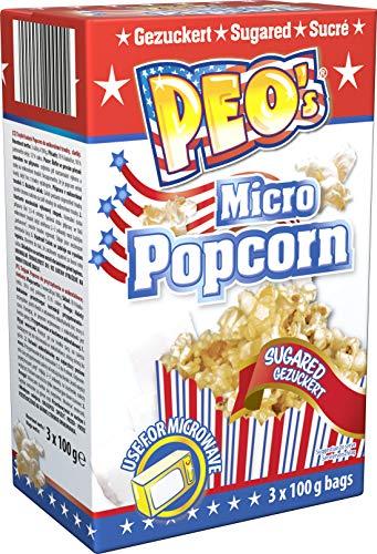 Peo's Micro Popcorn, Gezuckertes Mikrowellenpopcorn im 12er Vorteilspack, 12 Schachteln mit 3 x 100 g Inhalt, Popcorn Mais süß für die Mikrowelle, Filmsnack, Kinoabend