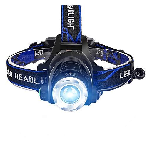 ANTOPM Linterna frontal Linterna frontal recargable con zoom LED Linterna frontal resistente al agua recargable USB con 2 baterías 18650 para correr, correr, acampar, pescar