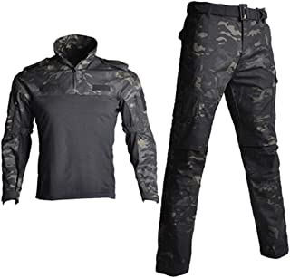 CFDGHIRY Men Camouflage Tactical Uniforms Military T-Shirts and Combat Pants Suit Sets