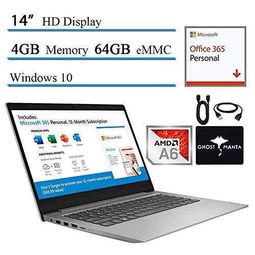 "2020 Lenovo Ideapad 14"" HD Widescreen LED Laptop Computer for Student and Business, AMD A6-9220e (Up to 2.4GHz), 4GB RAM DDR4, 64GB eMMC, HDMI, Windows 10 w/Ghost Manta Accessories"