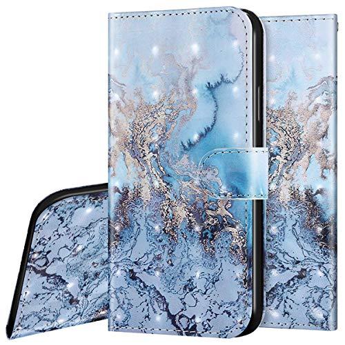 Surakey Custodia per Samsung Galaxy J2 Core, PU Pelle Portafoglio Wallet Cover Flip Libro Fiore Disegno Case con Porta Carte Antiurto TPU Bumper Protettiva Cover per Samsung Galaxy J2 Core,Marmo