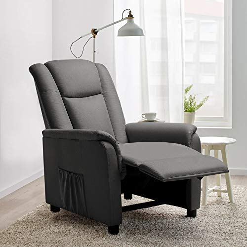 VITESSE Modern Fabric Recliner Chair, Home Theater Seating with Pocket, Lounge Single Recliner Sofa with footrest and Backrest, Fabric Reading Sofa Recliner for Living Room, Bedroom, Home Theater