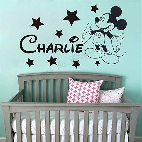 Mickey mouse sticker Mickey Mouse gepersonaliseerde naam baby slaapkamer wooncultuur aangepaste naam aangepaste kleur poster wandversiering 69.6x39.9 cm