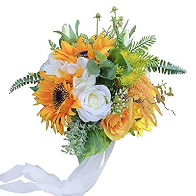 DALAMODA Peach Champagne Rose Flower Bouquet Wedding Bridal Bouquet Bridesmaid Bouquet Wedding Holding Flower Artificial Rose Greeny Plant Leaf for Wedding Church Party Home Decor(Pack of 1)